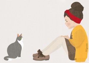 Fillette et un chat illustration lacapuciine
