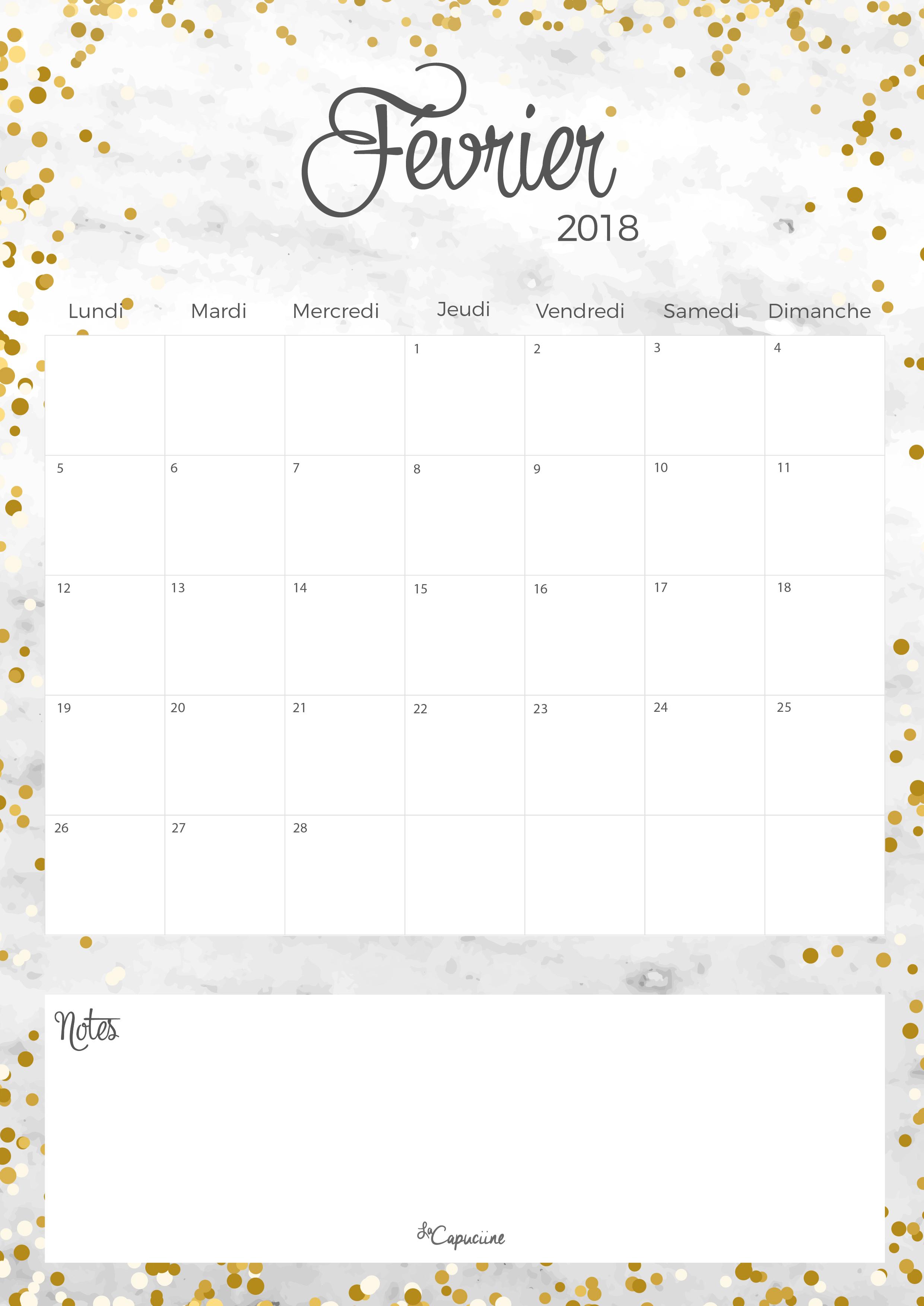 Calendrier F Vrier 2018 La Capuciine
