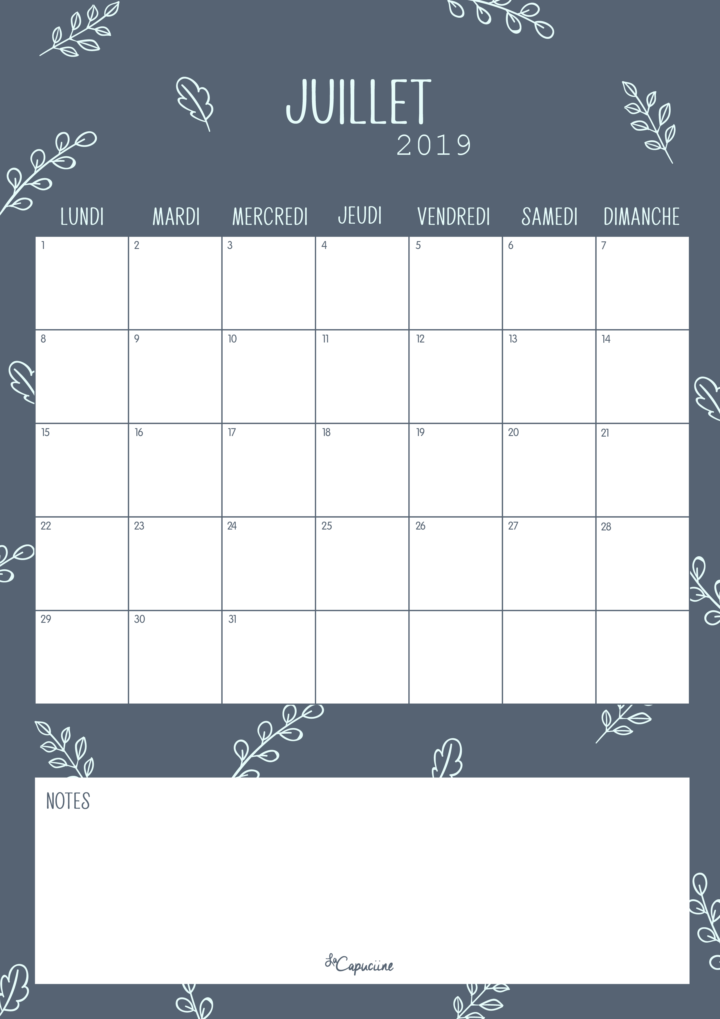 Calendrier A Imprimer Juillet 2019.Calendrier Juillet 2019 La Capuciine