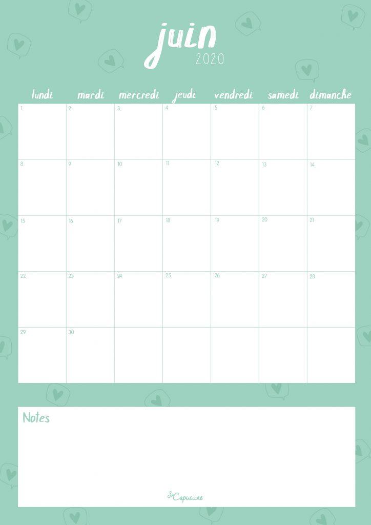 calendrier juin 2020 lacapuciine blog